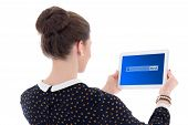 Back View Of Beautiful Business Woman Searching Something In Internet With Tablet Pc Isolated On Whi