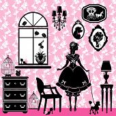 Princess Room With Glamour Accessories, Furniture, Cages, Pictures. Rrincess Girl And Dog - Black Si