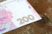 Ukrainian Money Background Made Of Two Hundred Hryvnia Notes