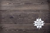 Christmas Wooden Background With Snowflakes