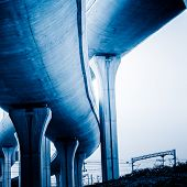 concrete road curve of viaduct in shanghai china outdoor.
