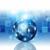 Global Network Communications Blue Background