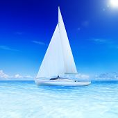 3D rendered sailboat on the sea.