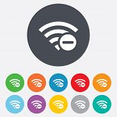 Wifi minus sign. Wi-fi symbol. Wireless.