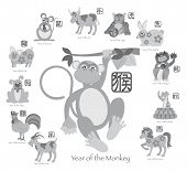 pic of grayscale  - Chinese New Year of the Monkey with Twelve Zodiacs with Chinese Text Seal in Circle Grayscale Vector Illustration - JPG