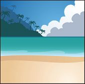 Beach background. Vector clip art illustration with simple gradients. Elements on separate layers.