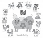 stock photo of sheep-dog  - Chinese New Year of the Pig with Twelve Zodiacs with Chinese Symbol for Rat Ox Tiger Dragon Rabbit Snake Monkey Horse Goat Rooster Dog Pig Text in Circle Grayscale Vector Illustration - JPG
