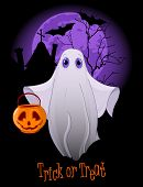 Halloween invitation  of  Trick or Treating Ghost. Raster version