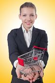 Businesswoman with shopping cart on white