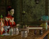 stock photo of seer  - A witch teaches her students about potions from her magic spell book - JPG