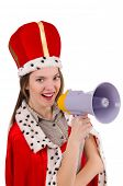 Queen businessman with loudspeaker in funny concept