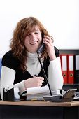 Young Female Secretary On The Phone