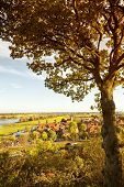 High angle view of Hitzacker on the Elbe river in autumn