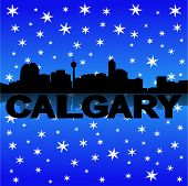 Calgary skyline reflected with snow vector illustration
