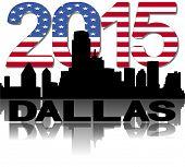 Dallas skyline 2015 flag text vector illustration