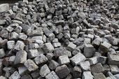 construction material, cobble stones for old road paved