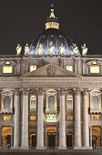 Monumental St. Peter's Basilica by night in Rome, Vatican, Italy