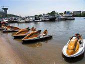 Moscow, Russia - June 14, 2006: Boats And Scalora On The Moscow River. Recreation Area.