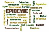Epidemic word cloud on white background