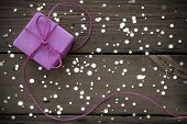 Purple Gift With Ribbon With Snowflakes