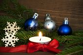 White Candle With Christmas Decoration