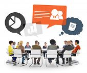 Group of Multiethnic People in a Meeting with Speech Bubbles