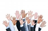 Group of business human arms raised.
