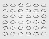 Big vector set of thirty-six cloud shapes
