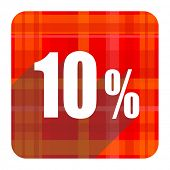 10 percent red flat icon isolated