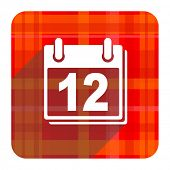 calendar red flat icon isolated