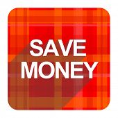 save money red flat icon isolated