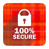 secure red flat icon isolated