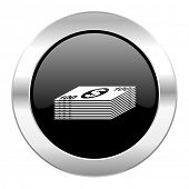 money black circle glossy chrome icon isolated