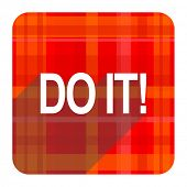 do it red flat icon isolated