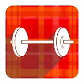 fitness red flat icon isolated