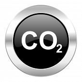 carbon dioxide black circle glossy chrome icon isolated