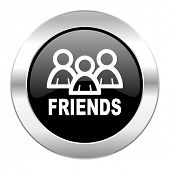 friends black circle glossy chrome icon isolated