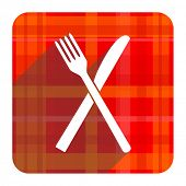 restaurant red flat icon isolated