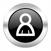 person black circle glossy chrome icon isolated
