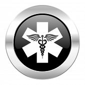emergency black circle glossy chrome icon isolated