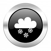 snowing black circle glossy chrome icon isolated