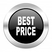best price black circle glossy chrome icon isolated