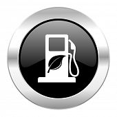 biofuel black circle glossy chrome icon isolated