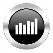 graph black circle glossy chrome icon isolated