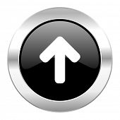 up arrow black circle glossy chrome icon isolated