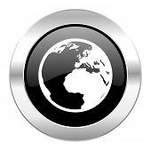 earth black circle glossy chrome icon isolated