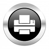 printer black circle glossy chrome icon isolated
