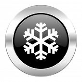 snow black circle glossy chrome icon isolated