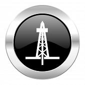 drilling black circle glossy chrome icon isolated