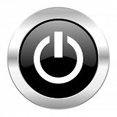 power black circle glossy chrome icon isolated